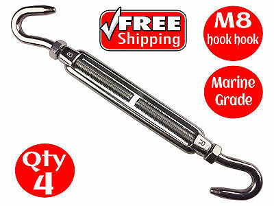 4 X TURNBUCKLE HOOK HOOK 316 STAINLESS STEEL M8 RIGGING SCREW 8mm for SHADE SAIL