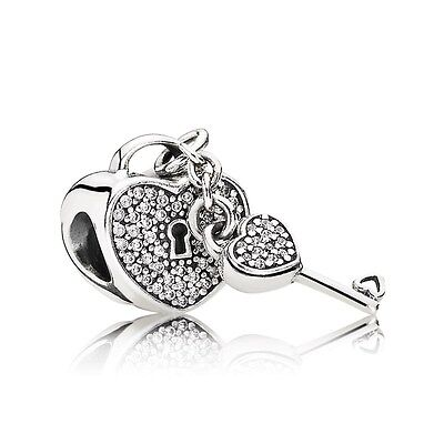 Authentic Pandora Sterling Silver Lock of Love Charm Bead 791429CZ