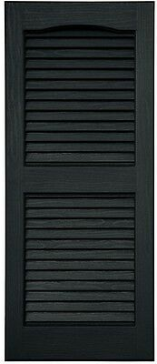 Exterior Shutters Louvered Vinyl Faux Wood Detailing Black 2-Pack 15 X 35 Inches
