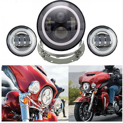 "7 Inch Motorcycle Daymaker Led Headlight 4.5"" Inch Fog Lamp Harley Road king"