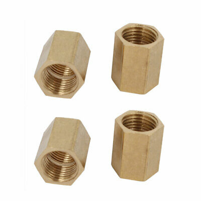 1/4BSP Female Thread Brass Pipe Fitting Straight Hex Rod Coupling Nut 4pcs