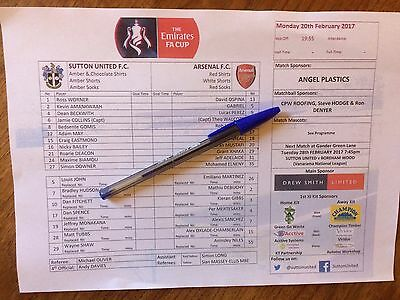 SUTTON UNITED v ARSENAL - FA CUP 5TH ROUND OFFICIAL COLOUR TEAM SHEET.