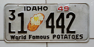 1949 Idaho on 1948 base license plate, Repaint/Spud decal not original.