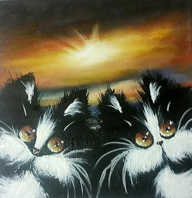 Oil,acrylic original painting on canvas, fat cats, by Alan Brunt, new.