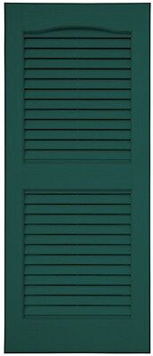 Exterior Shutters Louvered Vinyl Faux Wood Detailing Green 2-Pack 15 X 47 Inches