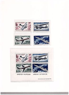 s14664) SPACE  AIRCRAFTS - 1962 MNH** Gabon 4v Imperforated + S/S