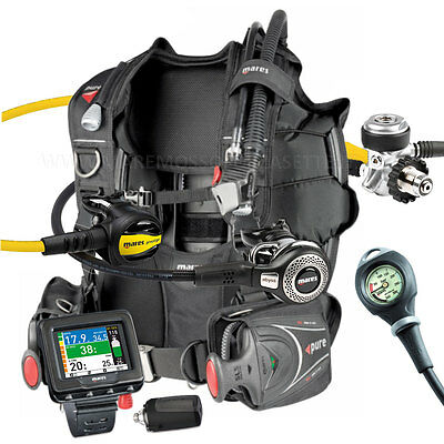 Diving Equipment Package Mares Bcd Pure Size Medium Regulator Abyss Din Icon Hd