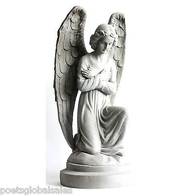 Garden Angel Statue Grey Stone Indoor Outdoor Sculpture Figure Yard Backyard New