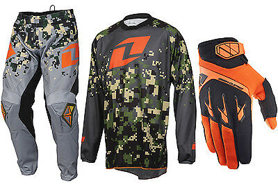 One Industries Atom Motocross Kit Combo Pants Jersey Gloves Camo Charcoal Orange