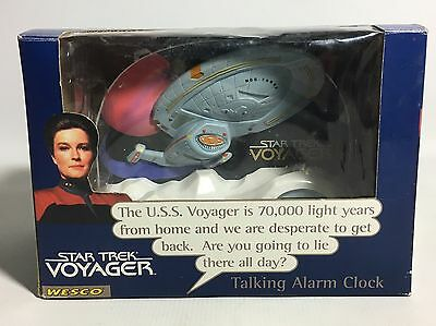 STAR TREK VOYAGER Talking Digital Alarm Clock with Sound FX by Wesco 1996 Boxed