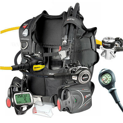 Diving Equipment Package Mares Bcd Pure Size Large Yoke Abyss Computer Wide
