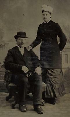 Tintype Photo #t277   Man And Woman In Nice Dress Hats And Pose