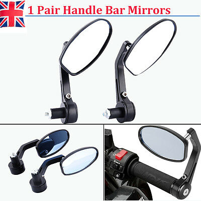 "Flexible Motorcycle 7/8"" Dia Swivel Handle Bar End Rearview Mirrors Clear Vision"