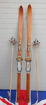 Antique Vintage Wooden Skis And Poles With Beartrap Bindings Ski Chalet 170Cm