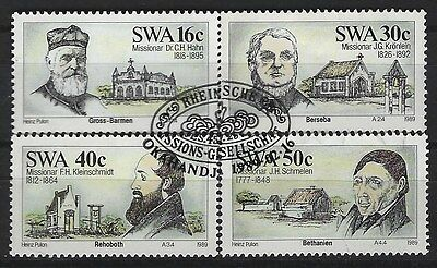 SOUTH WEST AFRICA 1989 Sc#610-3 MISSIONARIES MISSIONS COMPLETE USED SET 0044