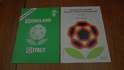 ENGLAND v ITALY 15.6.1980 EURO 1980 PROGRAMME + TOURNAMENT OFFICIAL PROGRAMME