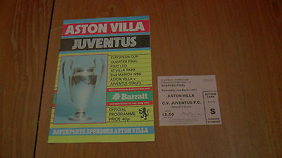 ASTON VILLA v JUVENTUS EUROPEAN CUP QUARTER FINAL PROGRAMME 2.3.1983 + TICKET