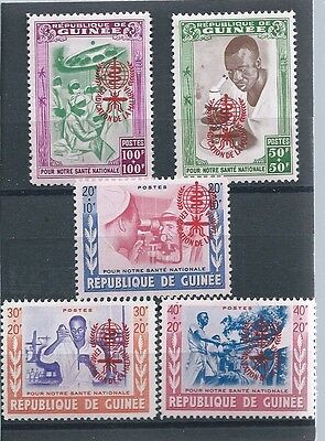 Guinea , Un , World Against Malaria ,  Set Of 5 O.p. In Red , Perf , Vlh