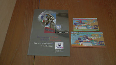 ITALY v ENGLAND 11.10.1997 WORLD CUP QUAL PROGRAMME + 2x TICKETS