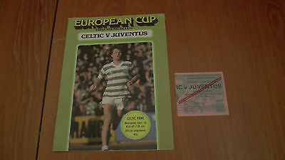 CELTIC v JUVENTUS EUROPEAN CUP PROGRAMME 16.9.1981 + TICKET