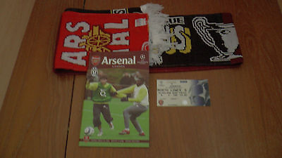 ARSENAL v JUVENTUS UEFA CHAMPIONS LEAGUE PROGRAMME 28.3.2006 + Ticket + Scarf