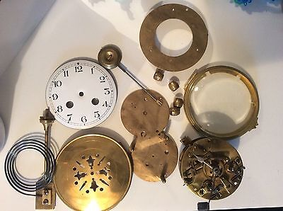 Antique French Clock Movements And Parts Spare Or Repair Pendulum Dial Hands