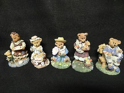 LOT of 5 Resin BEAR FIGURINES FootBall Player & Cub MOTHER & CHILD Country Girl
