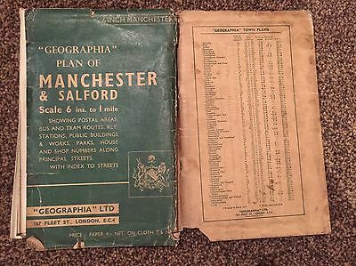 Geographia Plan Of Manchester & Salford 1950s(?)