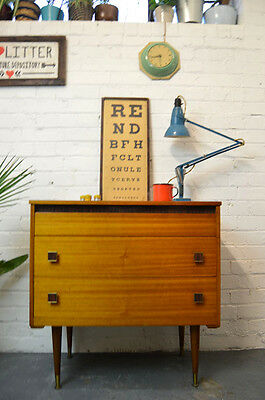 Vintage Mid Century Wooden Cupboard Cabinet Chest of 3 Drawers