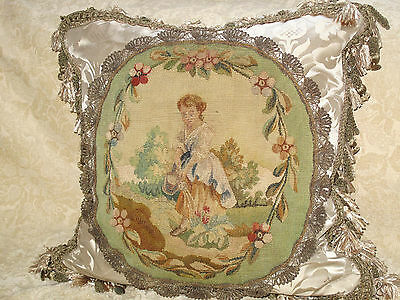 EXQUISITE AUTHENTIC ANTIQUE 19TH c AUBUSSON TAPESTRY PILLOW ~ VERY VERSAILLES