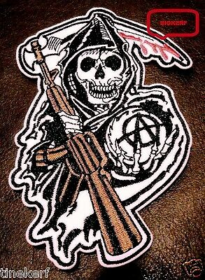 """Don't Fear  Grim Reaper  11""""  X  7 1/2""""  Inch  Samcro  Biker Patch - Sew Or Iron"""