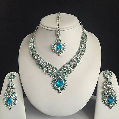 Blue Silver Indian Costume Jewellery Necklace Earrings Diamond Set Bridal New