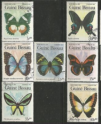 GUINE BISSAU 1984 BUTTERFLIES Sc#604-10 COMPLETE USED SET 470