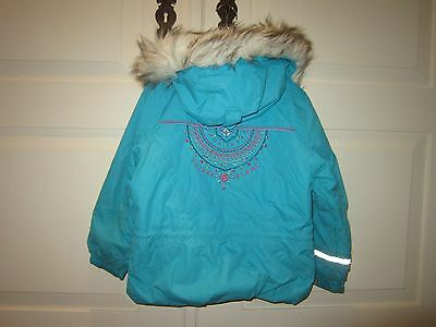 Poivre Blanc Girl Turquoise Down Ski Jacket with Faux Fur Trim size 4y
