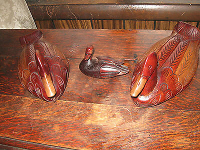 3 Hand Carved Solid Wood Beautiful Decorative Ducks