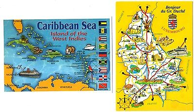 2 new MAP postcards from LUXEMBOURG and CARIBBEAN