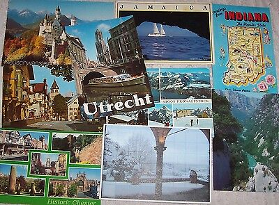 9 used postcards stamps from DIFFERENT COUNTRIES - Austria - Netherlands etc (B)