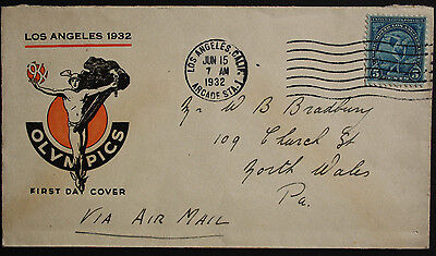 USA 1932 Los Angeles Olympic Games 5c Blue Illustrated Addressed First Day Cover