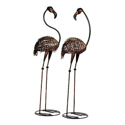 Wild Flamingo Garden Stakes Duo Cast Iron Forty Two Inches Tall Yard or Garden