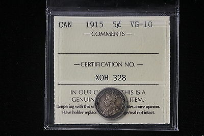 1915 Canada. 5 Cents. ICCS Graded VG-10. (XOH328)