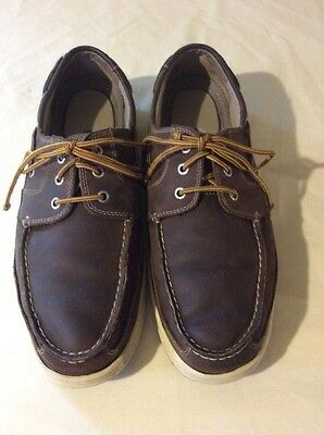 Dockers Men's Brown Leather Lace Up Boat Shoes SZ 13 M