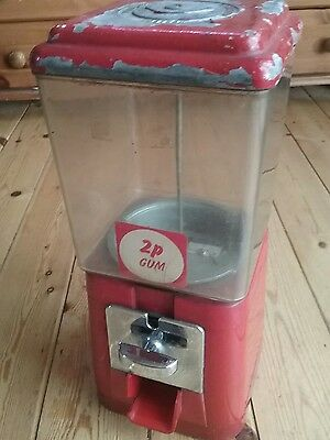 Vintage old gumball machine 2p chew sweet Man cave