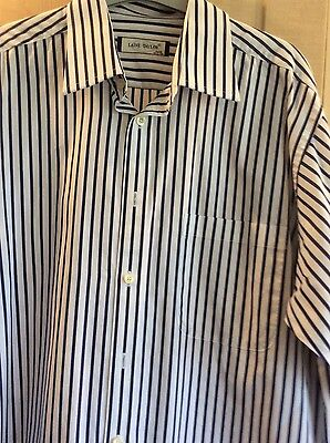 """mans navy and white striped Laine Taylor cotton shirt. collar 16"""" immaculate"""
