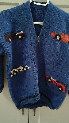 Children's Sz.6-7 Hand Knit  Wool Sweater Unisex Racing Cars /flags Never Worn