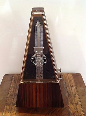 Vintage Metronome Wooden Cased Clockwork German GDR Mechanical Maelzel System