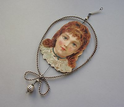Vintage Wrapped Wire Glass Beaded & Paper Girl  Head Christmas Ornament