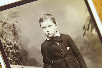 Antique Cabinet Photo Angry Little Kid Boy Child