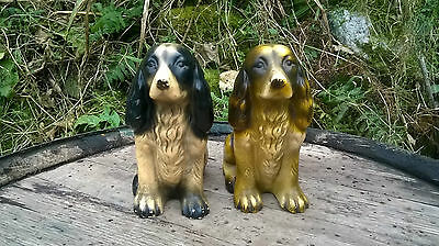Beautiful Pair Vintage / Antique Sitting Black & Brown Cocker Spaniel Figurines