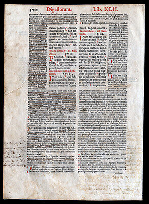 Canon Law 1591 Legal Leaf Emperor Justinian I   Renaissance Commentary