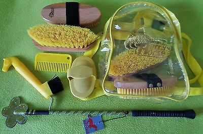 NEW Harry's Horse Kids Backpack Grooming Kit &Glitter Crop Bat SET~YELLOW~NO RES
